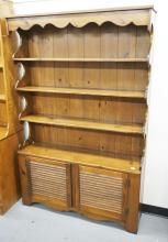PINE HUTCH WITH LOUVERED DOORS. 72 INCHES HIGH. 47 INCHES WIDE.