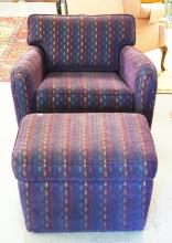 MODERN CHAIR & OTTOMAN IN PURPLE WITH MULTICOLORED SPECKS. CHAIR MEASURES 32 INCHES WIDE AND 30 INCHES HIGH.