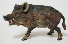 COLD PAINTED VIENNA BRONZE WILD BOAR. STAMPED *AUSTRIA*. VG PAINT. 2 1/2 IN LONG, 1 1/2 IN H