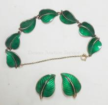 2 PC STERLING SILVER AND ENAMEL JEWELRY: BRACELET AND EARRINGS. NORWAY, ANCHOR MARK.