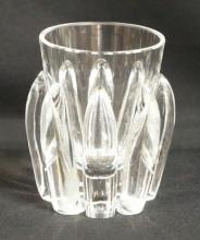 SIGNED STEUBEN CRYSTAL VASE W/ APPLIED FINGERS. 4 1/2 IN H