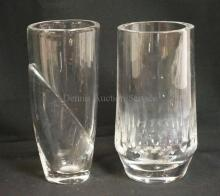 2 ORREFORS CRYSTAL VASES; ONE MODERN DESIGN, ONE CUT. LATTER HAS SOME LIGHT DEPOSITS ON THE; 8-8 1/4 IN