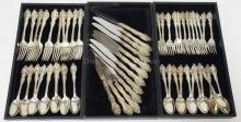 60 PC GORHAM *LA SCALA* STERLING SILVER FLATWARE SET. TWELVE 9 IN KNIVES, 12 SALAD FORKS, 12 DINNER FORKS AND 24 TEASPOONS. 80.215 TOTAL TROY OZ COUNTING 1/2 OZ FOR EACH KNIFE HANDLE
