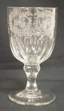 BLOWN, CUT AND ENGRAVED FLINT GLASS GOBLET DATED MARCH 12TH 1862. 6 IN H