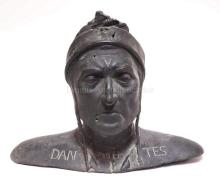 BRONZE BUST OF DANTE. 15 1/2 IN WIDE, 12 3/4 IN H