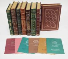 GROUP OF 8 LEATHER BOUND CLASSIC BOOKS. FRANKLIN LIBRARY. 6 HAVE EDITOR'S NOTES.