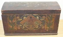 PAINT DECORATED, DOVETAILED DOME TOP IMMIGRANT'S CHEST. 44 IN X 23 IN, 26 1/2 IN H
