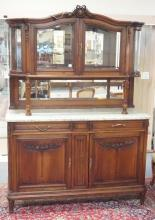 CARVED MARBLE TOP SIDEBOARD W/ MIRROR BACK AND VITRINE TOP W/ MIRROR BACK,  BEVELLED GLASS DOORS AND SIDES, GLASS SHELF AND LIGHTING.  58 1/2 IN WIDE, 82 IN H