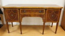 INLAID, BANDED AND BURL SIDEBOARD W/ 2 SERPENTINE DOORS AND CENTER DRAWER. 67 IN WIDE