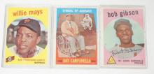 3 1959 TOPPS BASEBALL CARDS- WILLIE MAYS, BOB GIBSON AND *SYMBOL OF COURAGE- ROY CAMPANELLA*