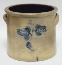 BLUE DECORATED 2 GALLON STONEWARE CROCK. MINOR INNER RIM CHIPS. 9 IN H