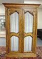 CARVED ITALIAN 2 DR CABINET W/WIRE MESH DOORS; HAS