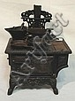 CRESCENT CAST IRON TOY STOVE W/ACCESSORIES; 11 1/2