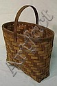 OVAL WOVEN SPLINT BASKET W/HANDLE; 12 3/4 IN X 7