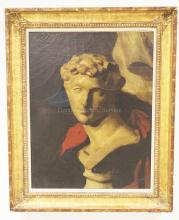 OIL ON CANVAS PAINTING. STILL LIFE OF A MARBLE BUST. RELINED. 16 1/2 X 21 1/2 INCHES. SOME CRACKLING AND SPOTS OF PAINT LOSS.