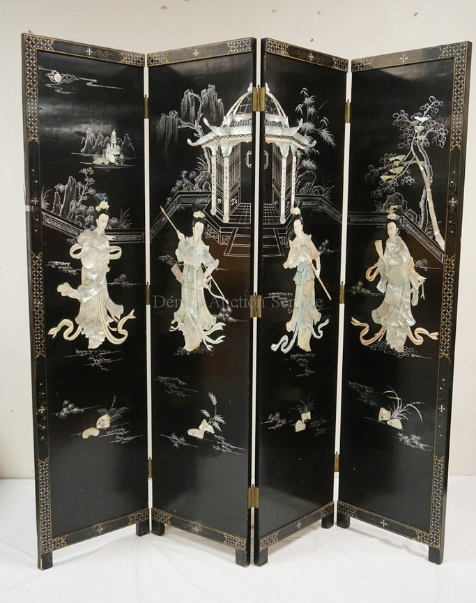 4 Panel Oriental Folding Screen In Black Lacquer With Applie