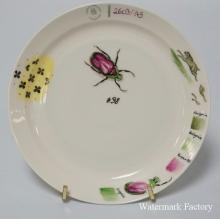 NYMPHENBURG HAND PAINTED SAMPLE PLATE DECORATED WITH A SCARAB. CONTAINS THE NUMBER 2603/145, THE COLOR SWATCHES FOR THE DÉCOR, AND A RABBIT ON THE EDGE, ETC. 6 1/4 INCH DIA.
