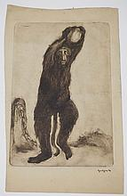 EUGENE HIGGINS (1874-1958) *DANCING BABOON* MONOTYPE PRINTED WITH BROWN PAINT. 5 3/4 X 8 3/8 INCHES.