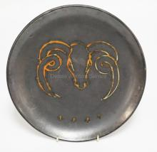 VALLAURIS FRANCE POTTERY PLATE DECORATED WITH A RAM. 9 1/8 INCH DIA.