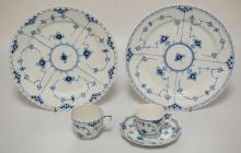 5 PCS ROYAL COPENHAGEN FULL & HALF LACE. 2 PLATES, 2 CUPS, AND A SAUCER. LARGEST MEASURES 10 7/8 INCHES.