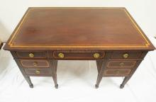 MAHOGANY PARTNERS DESK WITH BANDED INLAY TOP AND DRAWER FRONTS. 48 X 30 INCH TOP. 29 INCHES TALL. SOME WEAR TO THE CORNERS OF THE TOP.