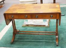 2 DRAWER DESK WITH DROP LEAF SIDES WITH BAMBOO TURNED LEGS AND STRETCHER. 41 1/4 INCHES WIDE. 28 INCHES TALL.