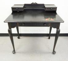 LADIES DESK IN BLACK PAINT WITH PAINTED FLOWERS. 36 INCHES WIDE. 36 INCHES TALL.