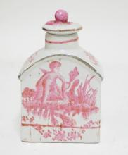 ASIAN TEA CADDY WITH RED DECORATION. CHARACTER SIGNED ON THE BOTTOM. 5 3/4 INCHES TALL.