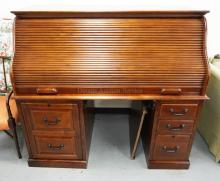 LARGE CONTEMPORARY ROLL TOP DESK. *S* ROLL. 60 INCHES WIDE. 53 INCHES TALL.