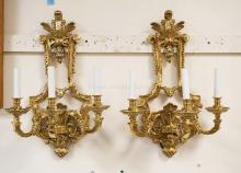 PAIR OF BRONZE WALL SCONCES. 23 2/3 LONG X 14 1/2 INCHES WIDE.