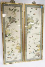 2 FRAMED ASIAN PRINTS. CHARACTER SIGNED. BAMBOO STYLED FRAMES. 14 X 42 INCHES.