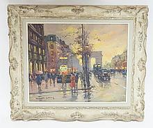 EDOUARD CORTES (1882-1969). OIL ON CANVAS STREET SCENE. 16 IN X 20 IN. SIGNED LOWER LEFT. EXCELLENT CONDITION WITH NO RESTORATION.