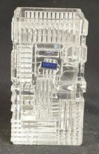 WATERFORD MARQUIS SQUARE CRYSTAL VASE. 8 IN TALL & 4 1/2 IN SQUARE.