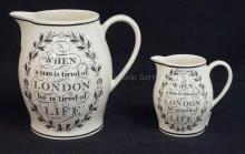 2 WEDGWOOD *LONDON JUGS*. TALLEST IS 7 1/2 IN, THE OTHER IS 4 7/8 IN.