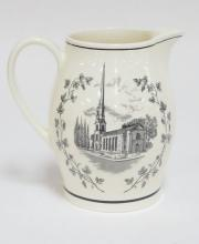 WEDGWOOD SAMPLE PITCHER. 300TH ANNIVERSARY OF THE REFORMED PROTESTANT CHURCH AT WILTWYCK. 6 1/2 IN.