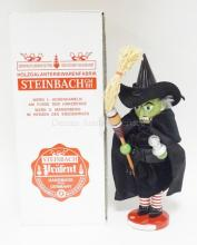STEINBACH NUTCRACKER IN ORIGINAL BOX. WIZARD OF OZ *WICKED WITCH OF THE WEST*. BOX LABEL MARKED PROTOTYPE. 18 1/2 IN TALL. SIGNED.