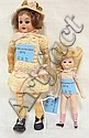 LOT OF 2 SMALL GERMAN BISQUE DOLLS; 7 1/2 IN
