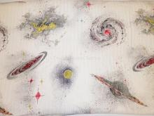 19 1/2 YDS X 46 IN WIDE. MID CENTURY MODERN FABRIC. *NEBULA* BY SILVER QUILL FABRIC.