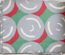GOODALL ABSTRACT FABRIC BOLT. CIRCULAR DESIGN- RED, GREEN, GRAY AND WHITE. 5 YD X 56 IN