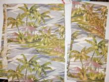 3 CURTAIN PANELS W/ DEER AND PALM TREES. ONE HAS A HOLE. 4 FT 10 IN X 22 IN