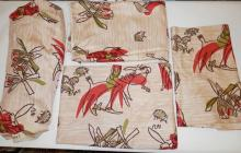 4 PC *DON QUIXOTE ORIGINAL HAND PRINT*. UN FINISHED CURTAIN PANEL, 6 FT A 47 IN, AND 2 PCS- 73 IN X 48 IN AND TWO 19 IN X 47 IN