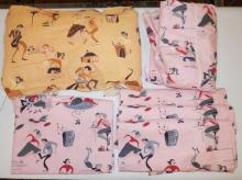 6 PC MID C FABRIC W/ ROCK N& ROLL THEME- TEENAGERS DANCING, ETC. PEACH COLORED PIECE IS 8 1/2 YDS X 42 IN, PINK PIECES ARE A TWIN SIZE BED SPREAD AND 4 CURTAIN PANELS- 5 FT 2 IN H, 18 IN WIDE