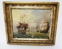 1851 OIL ON BOARD OF SAILING SHIPS IN A DECORATED GILT FRAME. HAND WRITTEN ON THE REVERSE *WILLIAM ?, 1851*. 9 IN X 7 IN