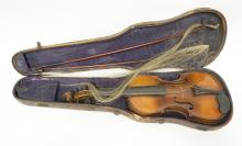 ANTIQUE VIOLIN WITH 2 BOWS & CASE. ONE BOW MARKED *WOLFF*.