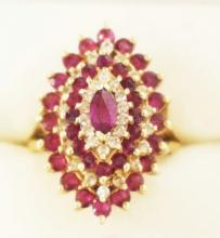 6.85 DWT 14 YELLOW GOLD COCKTAIL RING WITH ALTERNATING STEPPED OVAL BANDS OF RUBIES & DIAMONDS. APPROX SIZE 4 1/2.