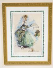 RAYMOND HUGHES PENCIL SIGNED LIMITED EDITION #10/500 COSTUME DESIGN PRINT WITH ATTACHED FABRIC. TITLED *ROSEMARY*. 19 1/2 X 13 1/2 INCHES. PROFESSIONALLY FRAMED & MATTED.