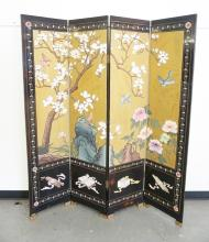 BLACK LACQUERED & PAINTED ASIAN FOLDING SCREEN. 72 INCHES TALL. FOUR 16 INCH PANELS.