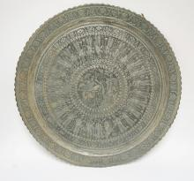 LARGE ASIAN COPPER TRAY WITH ENGRAVED DECORATION. 31 INCH DIA.