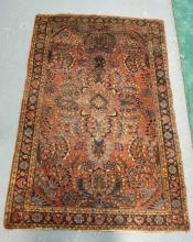 ORIENTAL THROW RUG IN REDS & BLUES. 5 FT X 3 FT 5 INCHES.