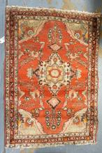 ORIENTAL THROW RUG. 3 FT 5 INCHES X 5 FT